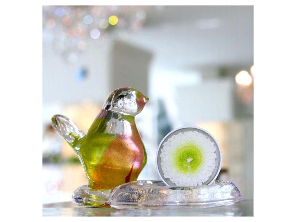 Vogel tierfigur glasfigur piep bunt m teelichthalter for Teelichthalter glas bunt